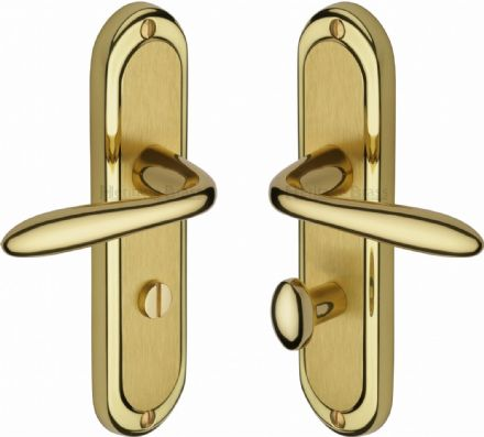 M Marcus Heritage Brass HEN1230MF Henley Door Handle on Bathroom Backplate Mayfair Dual Finish